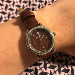 Simple fossil brown leather watch with rhinestones